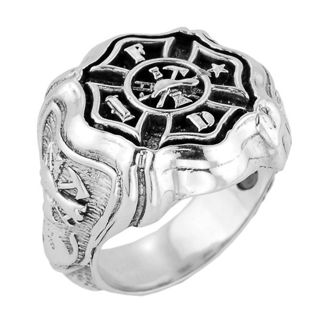 Bold Sterling Silver Firefighter Maltese Cross Ring