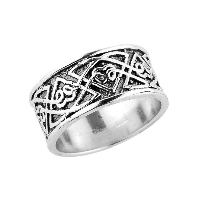 Sterling Silver Comfort Fit Celtic Knot Wedding Band