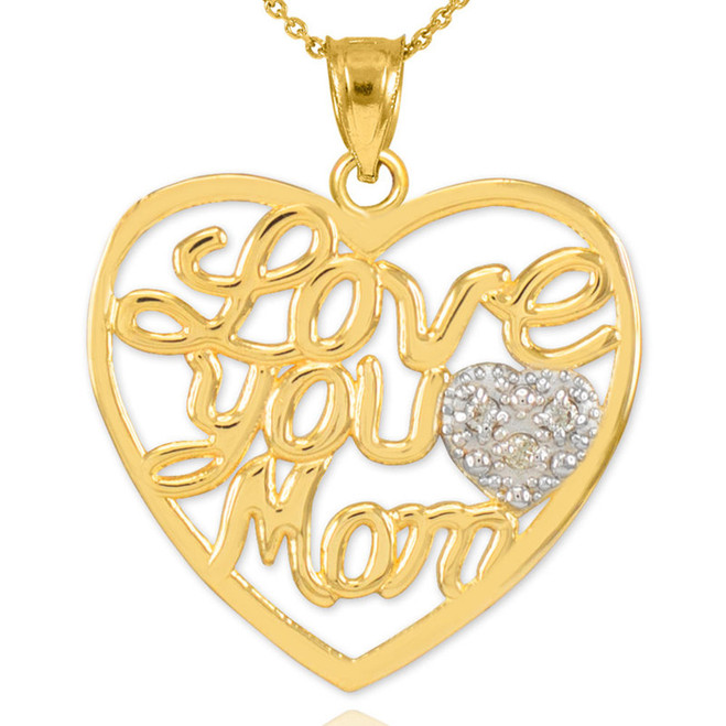 "14K Gold Diamond Pave Heart ""Love You Mom"" Pendant Necklace"