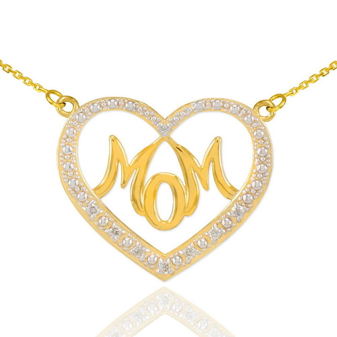 "14K Gold Diamond Studded ""Mom"" Heart Necklace"