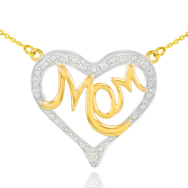 """14K Two-Tone Gold Diamond Studded """"Mom"""" Heart Necklace"""