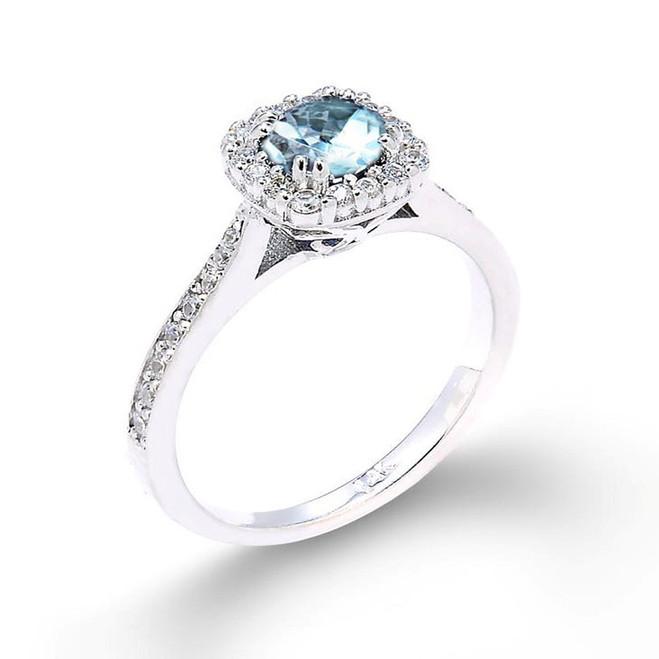14k White Gold Aquamarine Engagement Ring