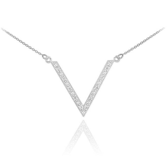 14K White Gold Diamond Studded V Necklace