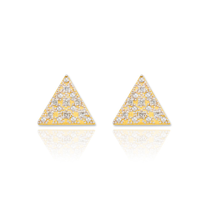 Gold Diamond Pave Triangle Post Stud Earrings