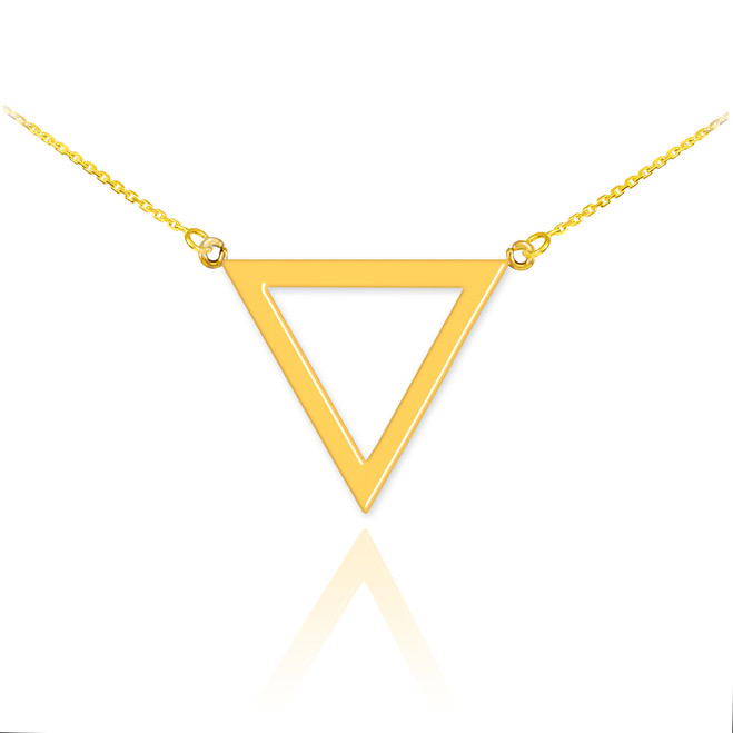 14K Polished Gold Triangle Necklace