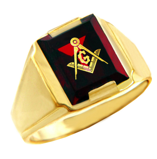 Freemason Red Stone Square & Compass Gold Masonic Mens Ring