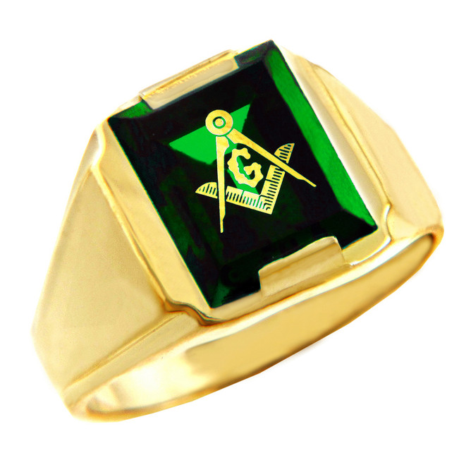 Freemason Green Stone Square & Compass Gold Masonic Mens Ring
