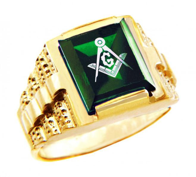 Freemason Green Square and Compass Gold Masonic Men's Ring