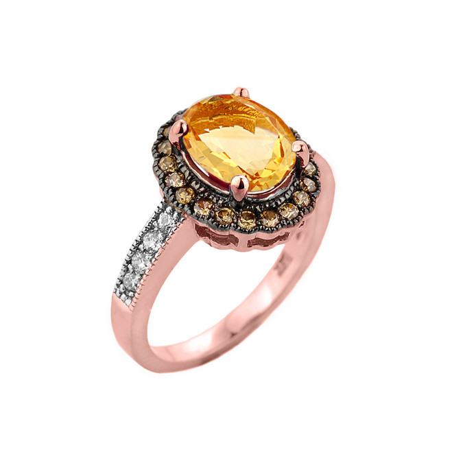 Rose Gold Citrine and Diamond Engagement Ring