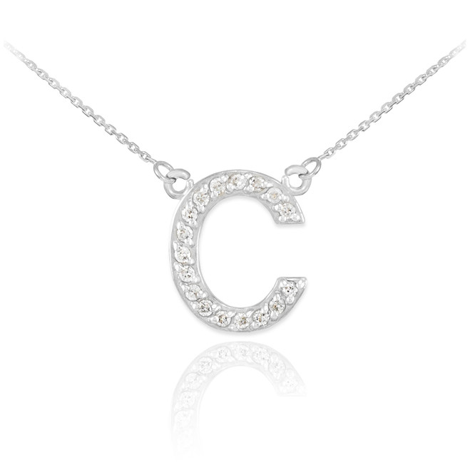 "14k White Gold Letter ""C"" Diamond Initial Necklace"