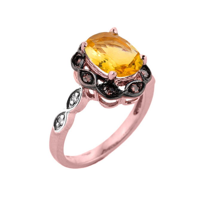 Rose Gold Citrine and Diamond Proposal Ring