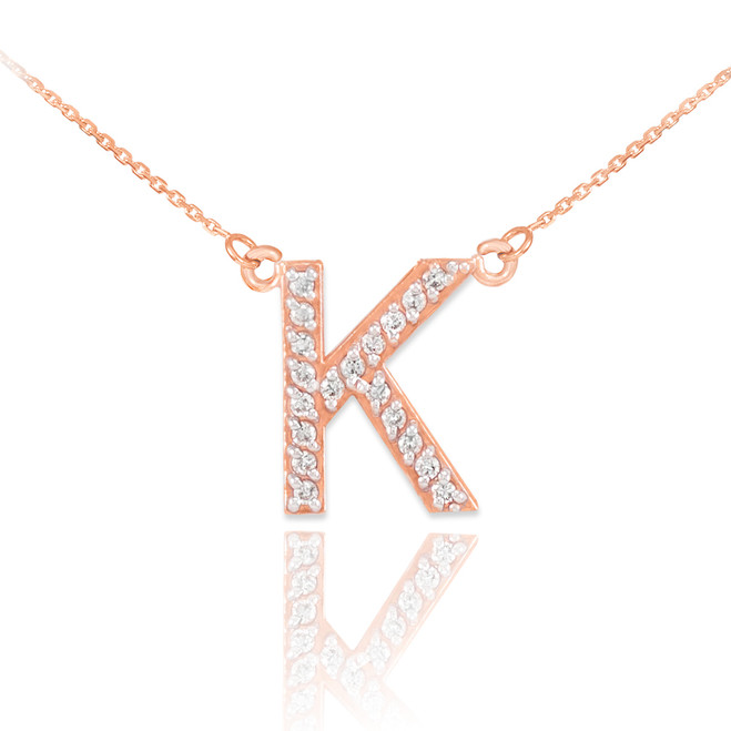 "14k Rose Gold Letter ""K"" Diamond Initial Necklace"