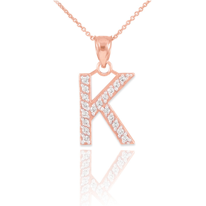 "Rose Gold Letter ""K"" Diamond Initial Pendant Necklace"