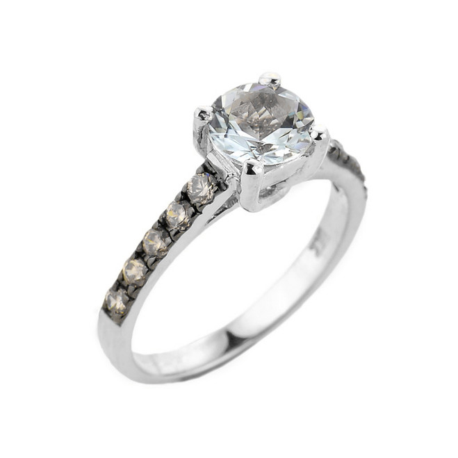 White Gold Aquamarine and Diamond Solitaire Ring