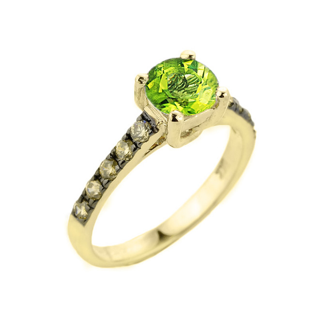 Yellow Gold Peridot and Diamond Solitaire Ring
