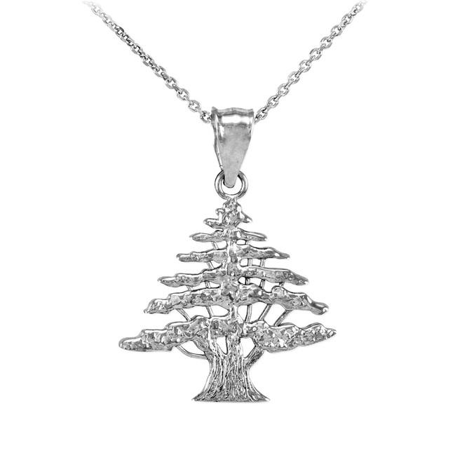 White Gold Cedar Tree of Lebanon Charm Pendant Necklace