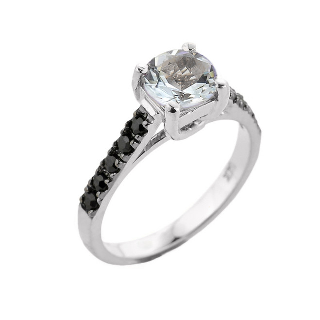 White Gold Aquamarine and Black Diamond Solitaire Engagement Ring