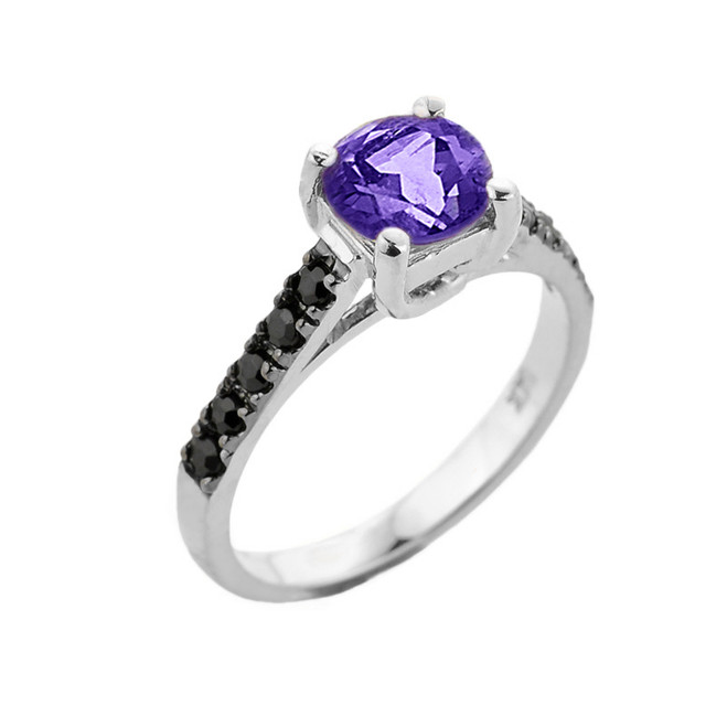 White Gold Amethyst and Black Diamond Solitaire Engagement Ring