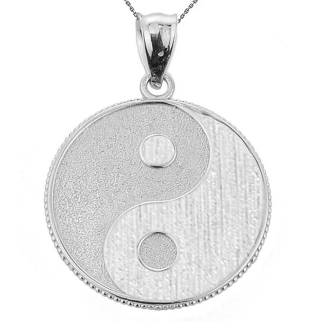 White Gold Yin and Yang Taoist Symbol Charm Pendant