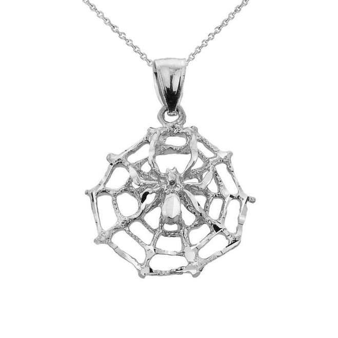 Sterling Silver Spider Web Charm Pendant Necklace