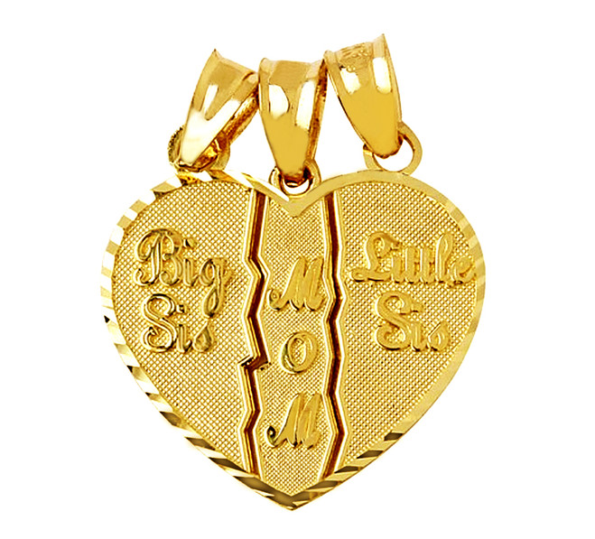 Big Sis, Little Sis, Mom 3 Piece Break Apart Gold Pendant