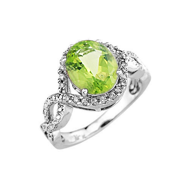 White Gold Peridot and Diamond Infinity Engagement Ring