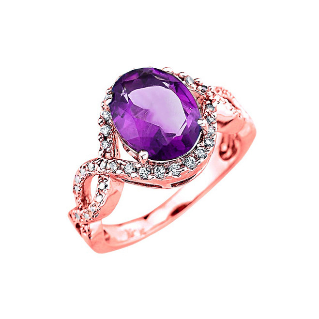 Rose Gold Amethyst and Diamond Infinity Engagement Ring