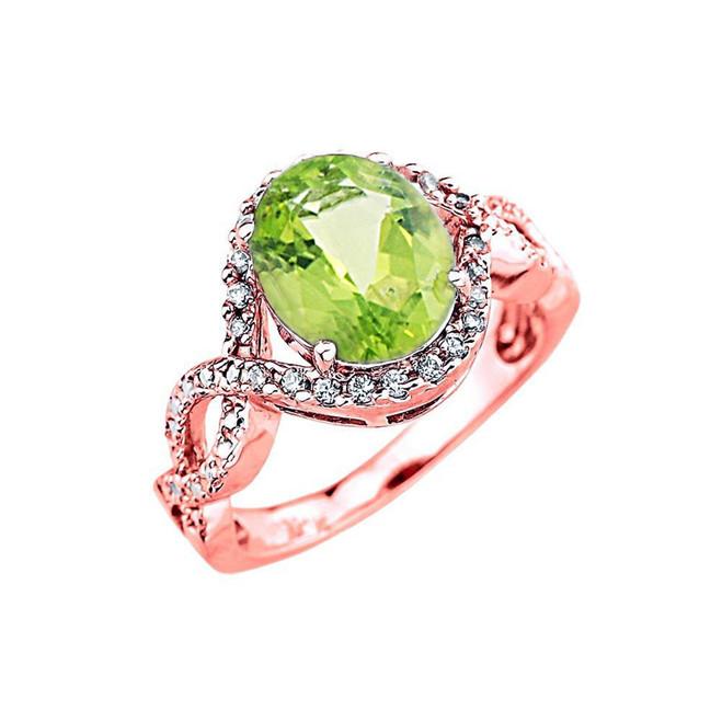 Rose Gold Peridot and Diamond Infinity Engagement Ring
