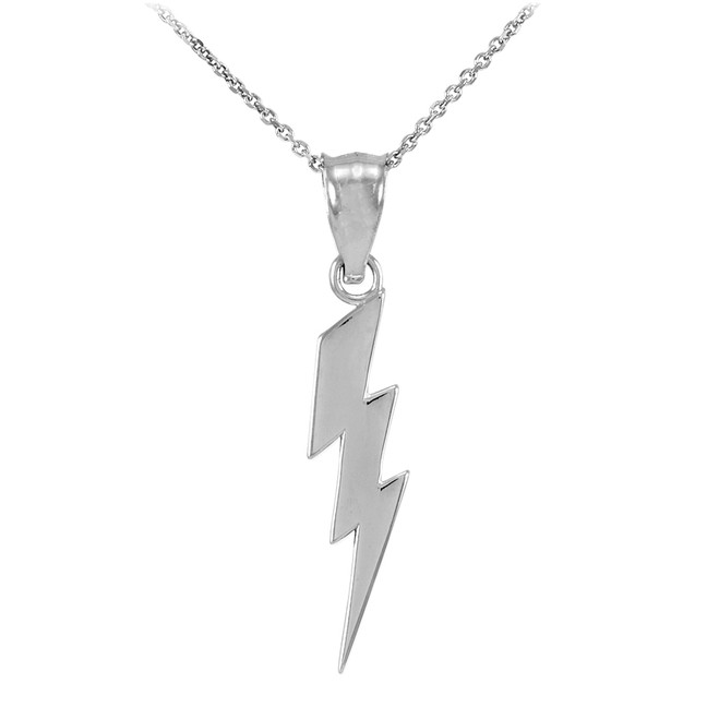 Sterling Silver Thunderbolt Charm Pendant Necklace