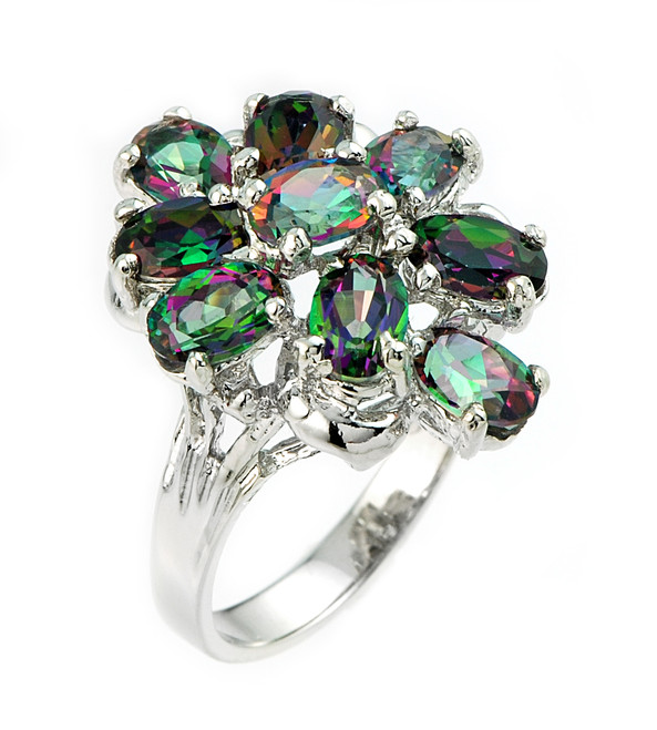 White Gold Mystic Topaz Gemstone Ladies Ring