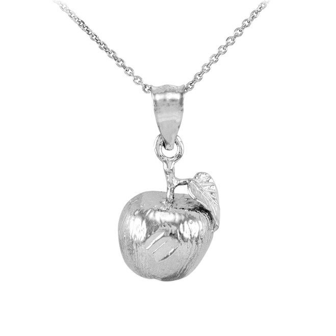 White Gold Apple Charm Pendant Necklace