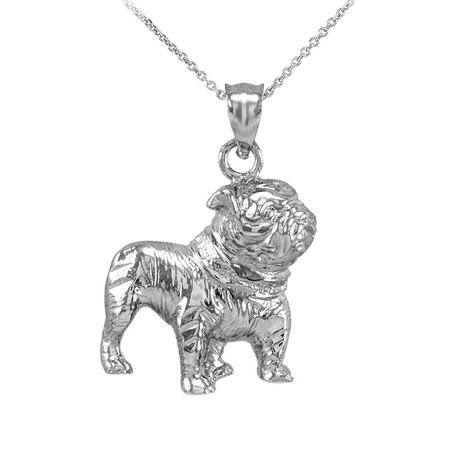 White Gold Bulldog Pendant Necklace