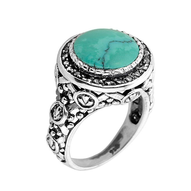 Sterling Silver Round Shaped Turquoise Gemstone Ring