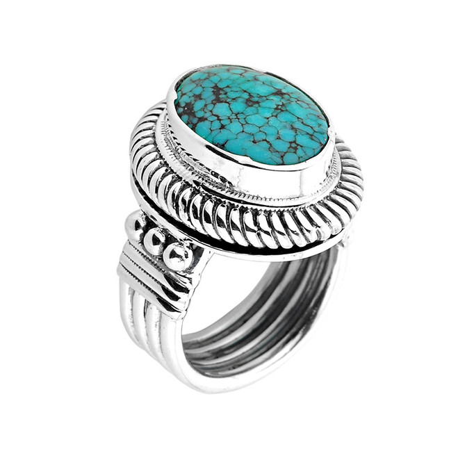 Sterling Silver Oval Shaped Turquoise Gemstone Ring