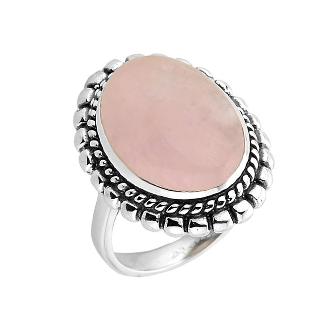 Sterling Silver Bezel Set Morganite Gemstone Ring