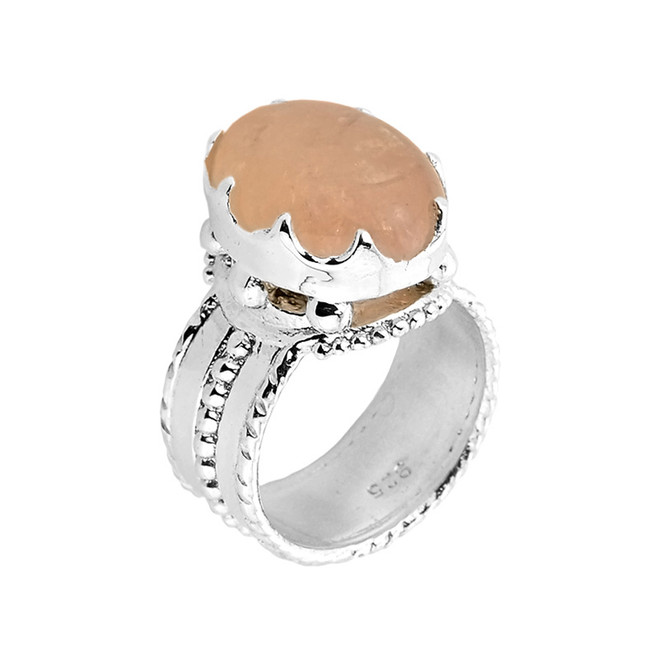 Sterling Silver Morganite Gemstone Ring