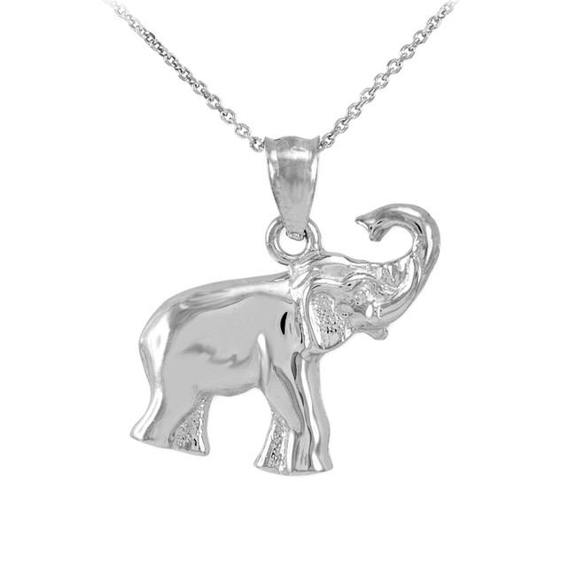White Gold Elephant Charm Pendant Necklace