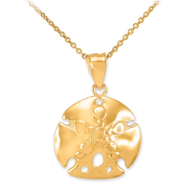 Gold Sand Dollar Pendant Necklace