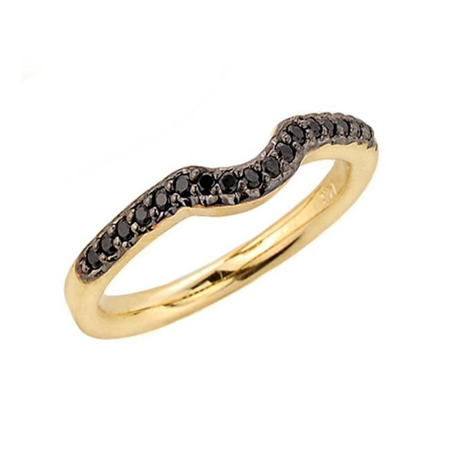 Yellow Gold Black Diamond Wedding Band