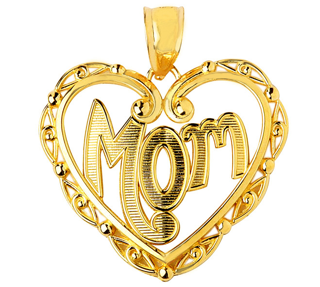 Gold Fancy Heart Mom Pendant