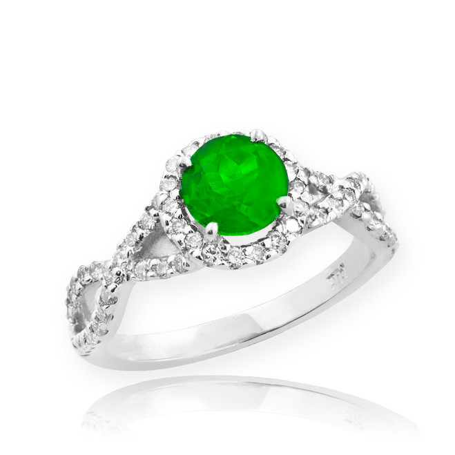 White Gold Emerald Infinity Ring with Diamonds