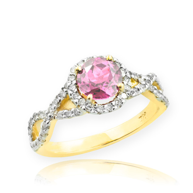 Gold Pink Topaz Infinity Ring with Diamonds