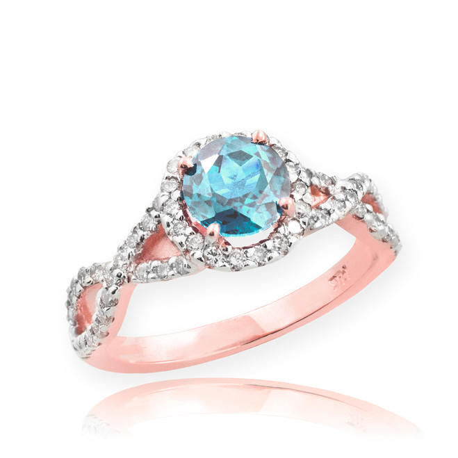 Rose Gold Aquamarine Birthstone Infinity Ring with Diamonds