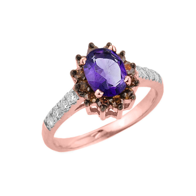 14k Rose Gold Amethyst and Diamond Ladies Ring