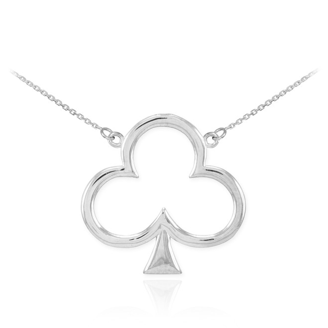 14k White Gold Clover Shamrock Necklace