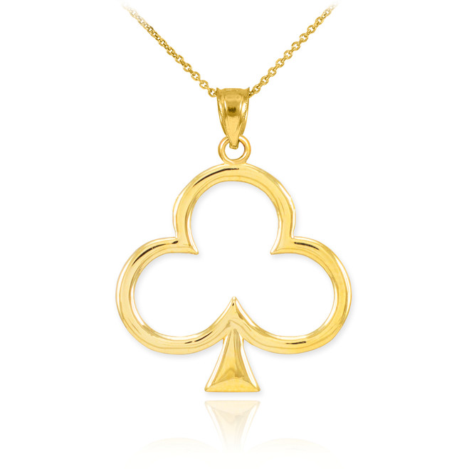 Gold Clover Shamrock Pendant Necklace