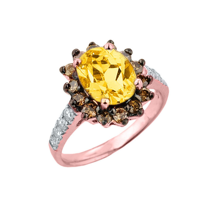 Rose Gold Citrine Birthstone and Diamond Proposal Ring