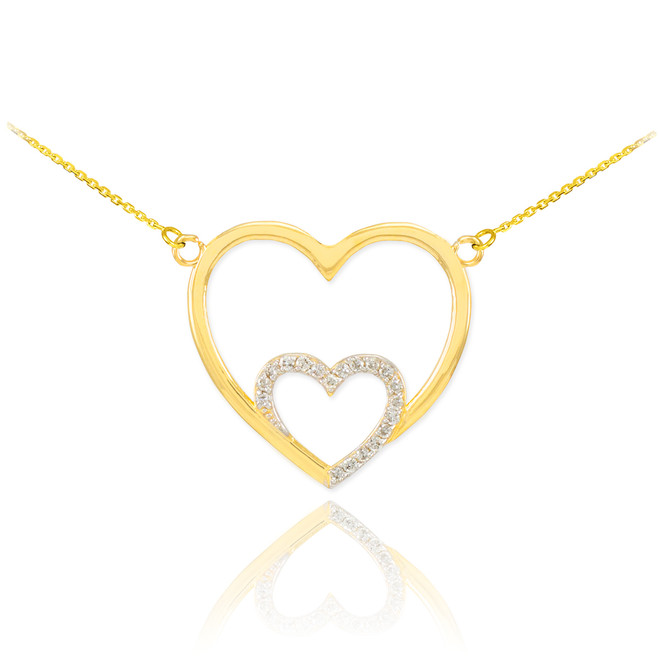 14k Gold Double Heart Necklace with Diamonds