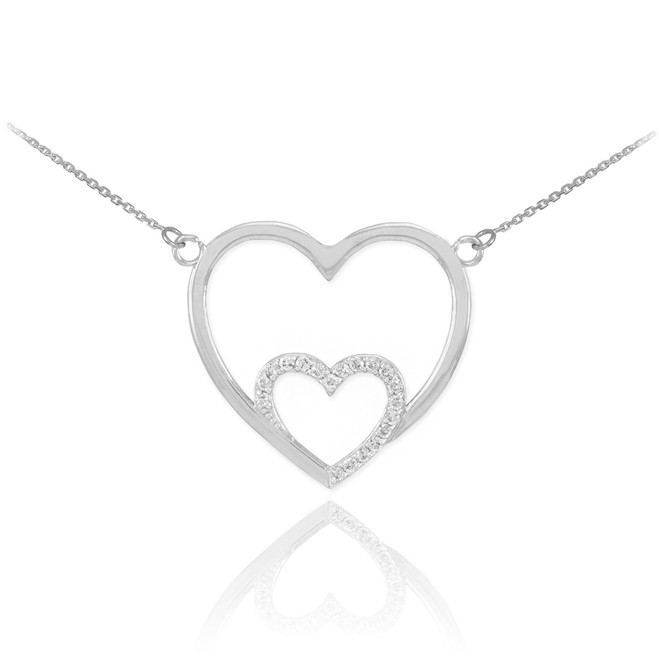 14k White Gold Double Heart Necklace with Diamonds