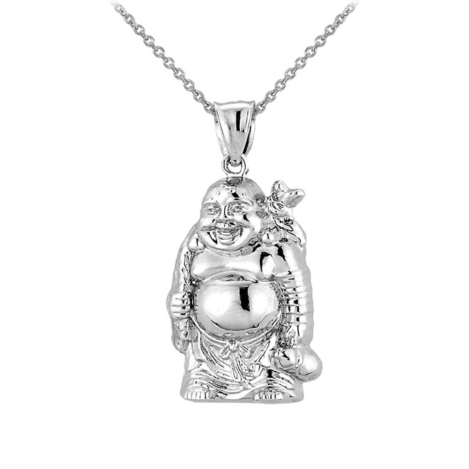 Sterling silver laughing buddha pendant necklace buddha buddhist 3d sterling silver laughing buddha pendant necklace aloadofball Images